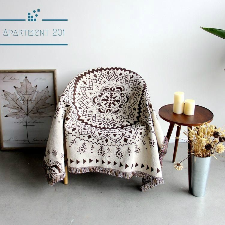 Knitted Mandala Throw Blanket In 2020 Woven Throw Blanket Sofa Throw Blanket Boho Sofa