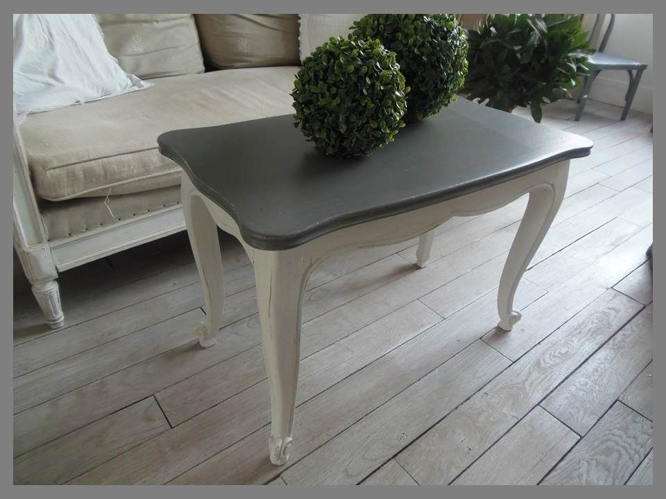 Table basse en merisier atelierdes4saisons patin e gris perle blanc poudr plateau gris zinc for Peinture table basse