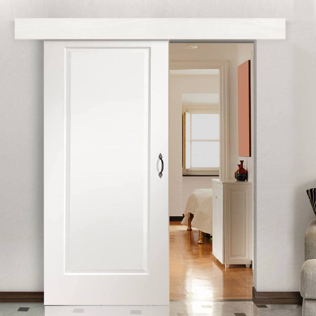 Single Sliding Door Wall Track Cesena White 1 Panel Door Prefinished Sliding Doors Barn Style Sliding Doors Sliding Doors Interior
