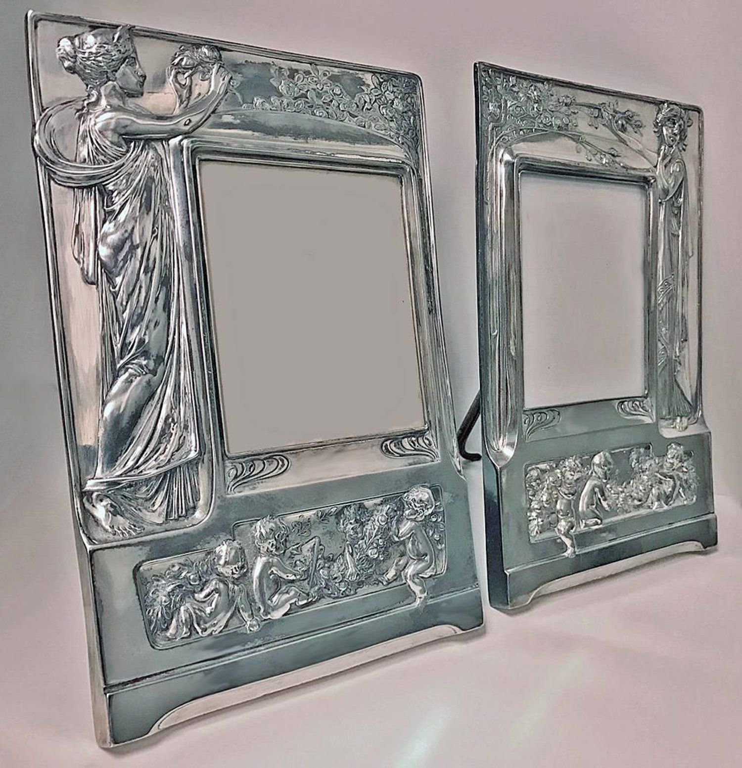 Pair of Art Nouveau Large Silver Plate Photograph Frames, Germany ...
