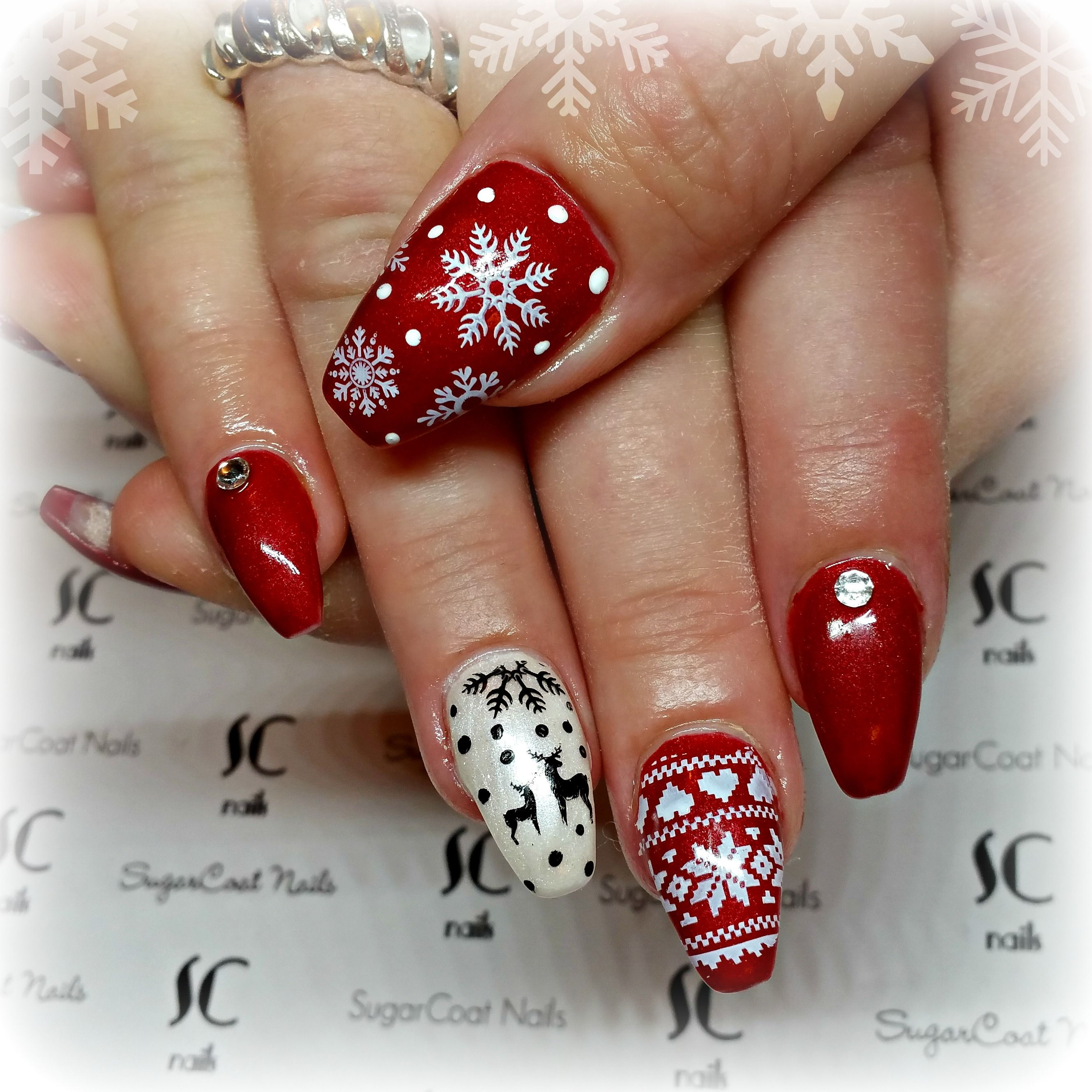 Christmas Nails Not Red: Red Christmas Sweater Coffin Nails With Reindeer