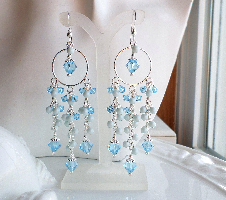 Aqua Blue Swarovski Crystal Pearl Long Chandelier Earrings Silver Statement Pastel