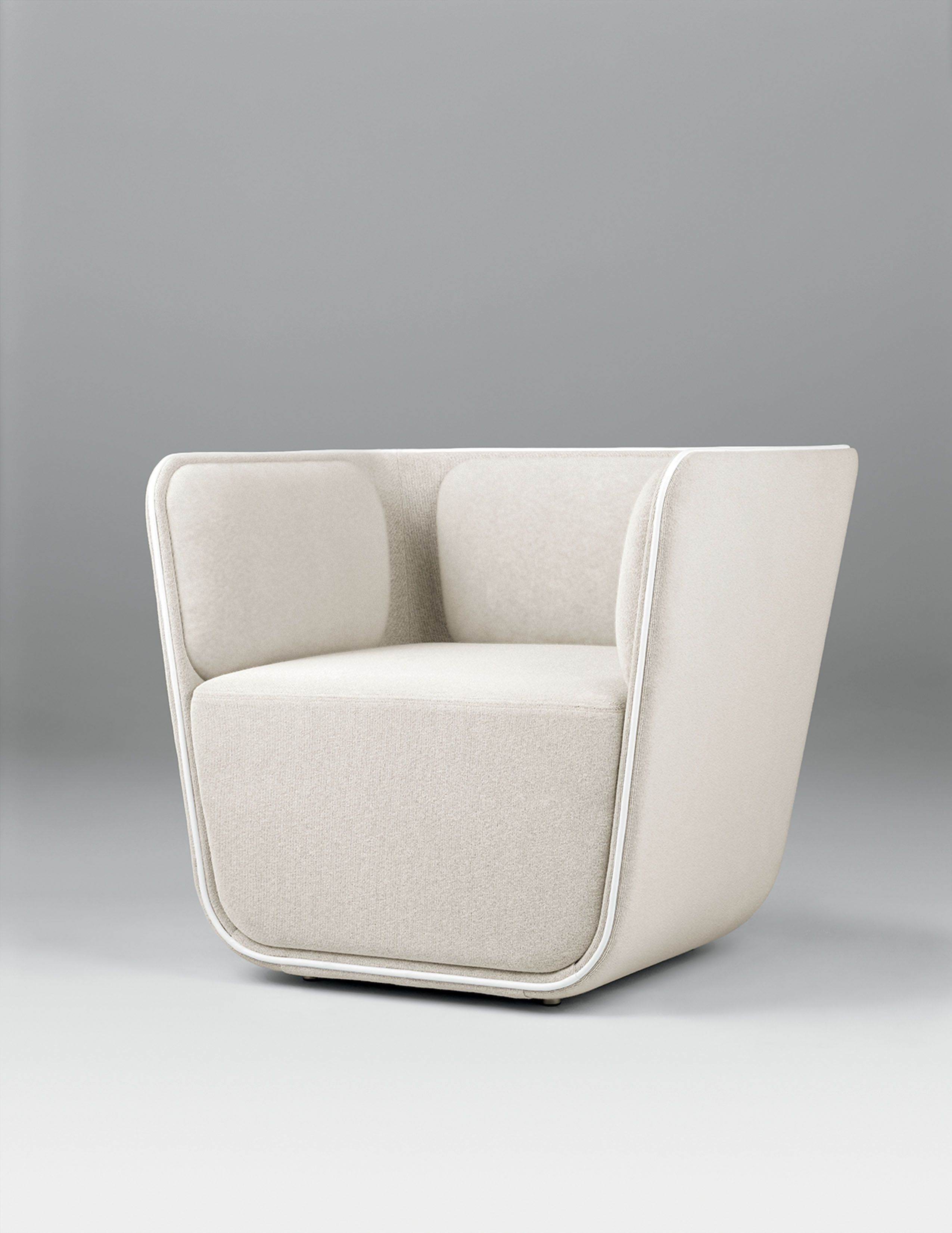 The Elle lounge chair, sofa, and modular seating share continuous lines that convey fluidity and motion, inspired by the energy of skateboarding. Planes and lines combine for a youthful elegance and a fresh style. The Elle Collection includes a lounge chair, 2-seat sofa, and modular seating including left, right, and armless center modules. All have fixed multi-density polyurethane foam cushions and nylon glides.