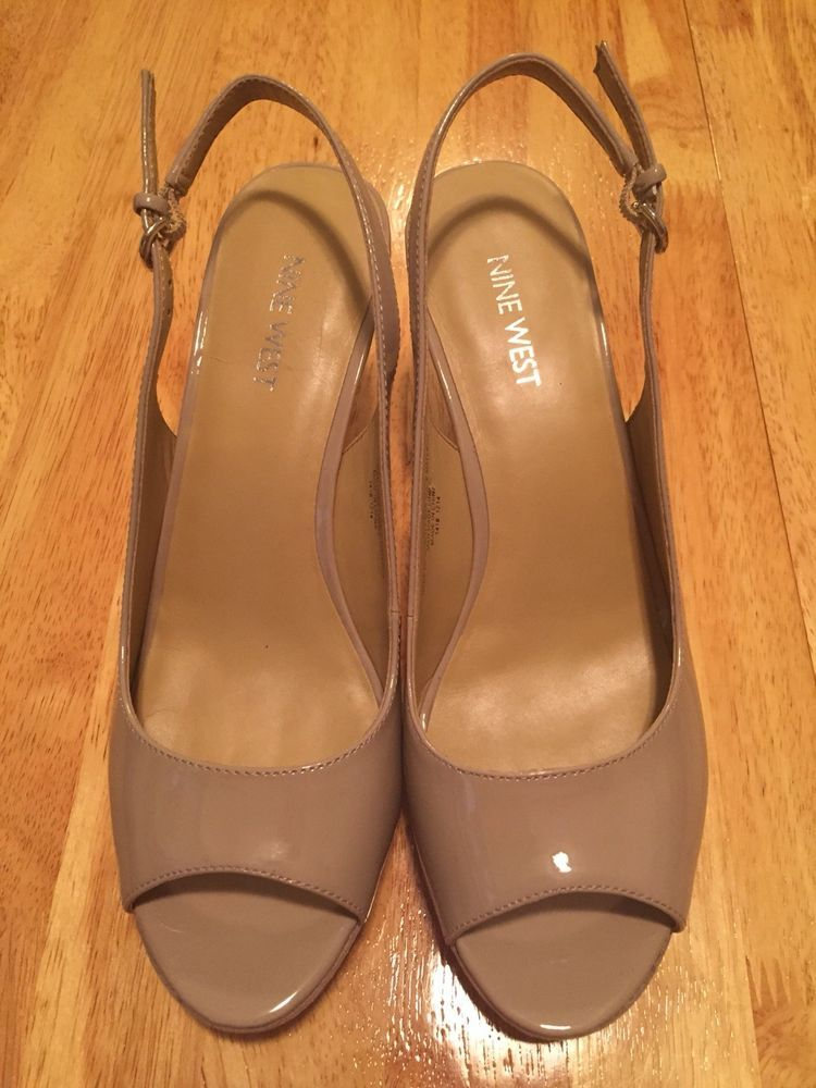 f81b551246a NEW Nine West Nude Or Taupe Patent Leather Peep Toe Slingback Heels Sandals  Sz 8  fashion  clothing  shoes  accessories  womensshoes  heels (ebay link)