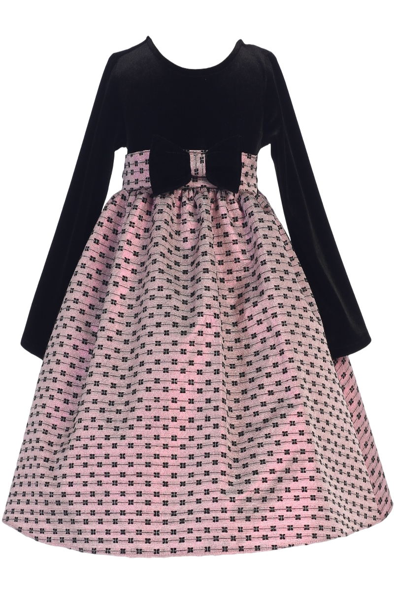abf5a29fb Black Velvet Girls Holiday Dress w. Pink Bow Design Jacquard Skirt 6M-12