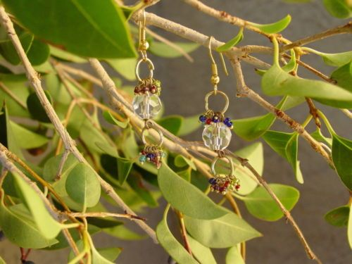 Glass & Gold Faceted Round Assorted Color Dangle Pierced Fishhook Earrings