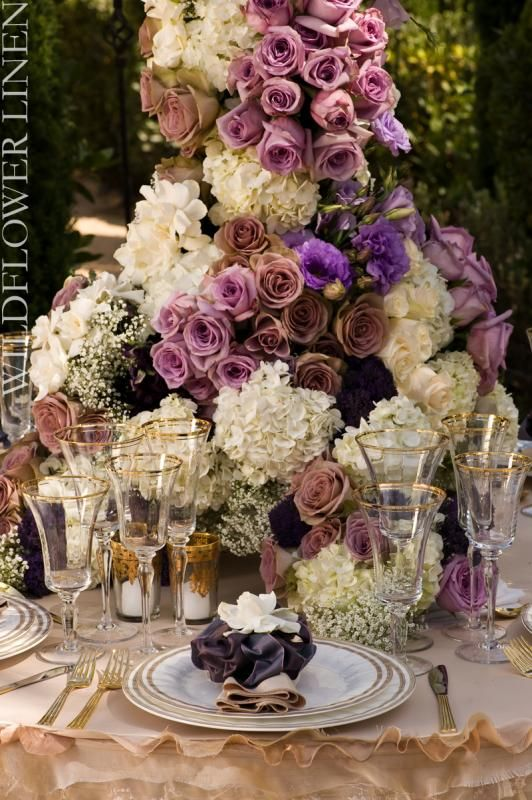 Romantic Purple Wedding : wedding bouqet flowers gold inspiration ...