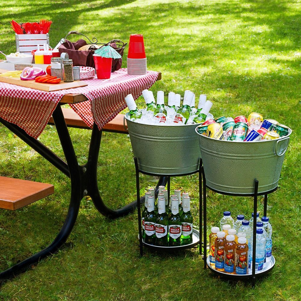 Galvanized Beverage Ice Tub Bucket Cooler Drink Stand Wine Beer Garden Party Galvanizedbeverageice Drink Stand Beer Garden Party Beverage Cooler