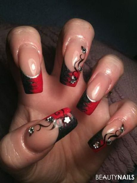 Gelnagel Rot Schwarz Nails In 2019 Nails Nail Designs Red Nails