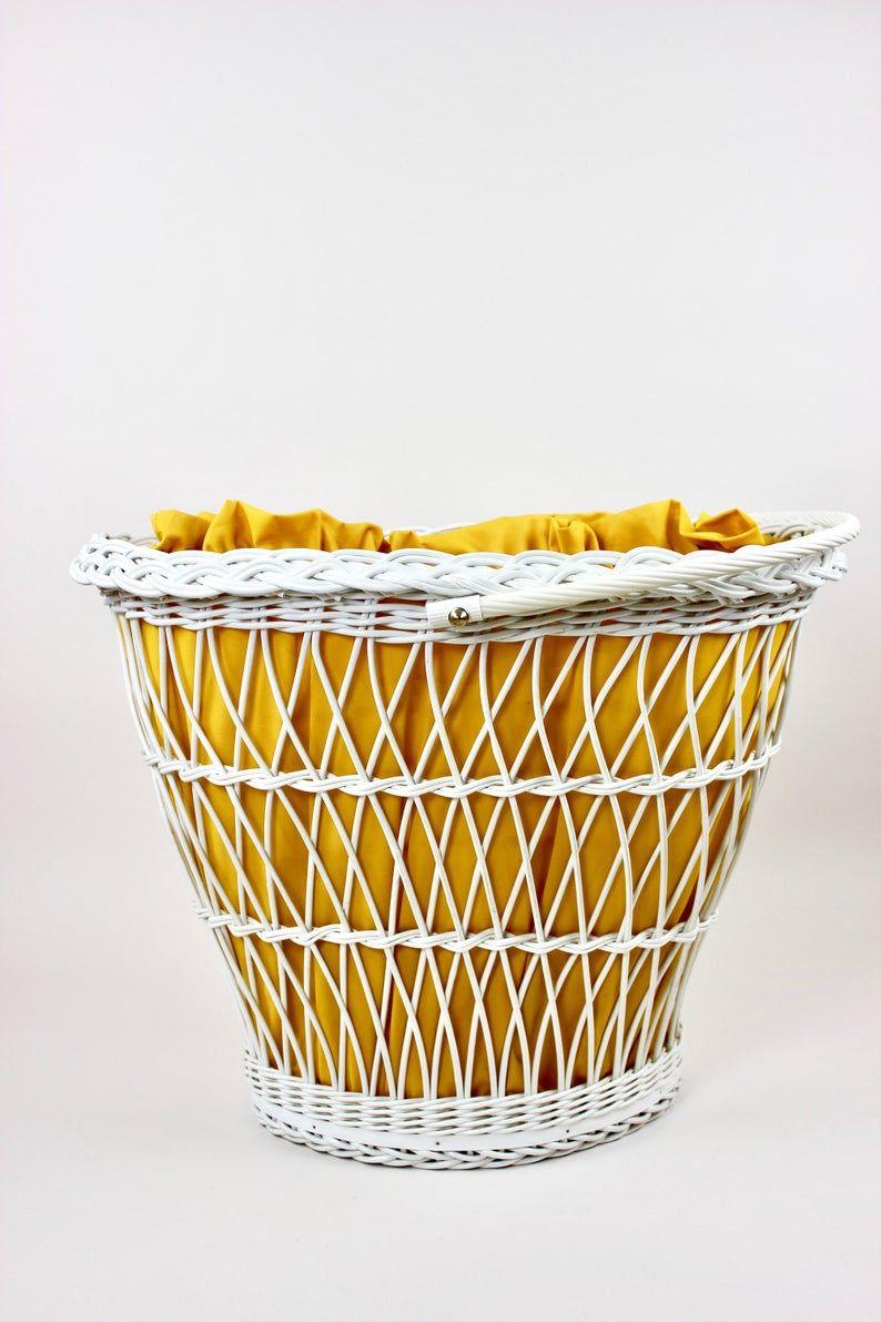 Grosser Mid Century Waschekorb Waschetruhe Weisser Korb Badezimmer Vintage Interior Wicker Laundry Basket Wicker Laundry Basket