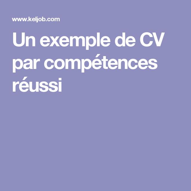 Un Exemple De Cv Par Competences Reussi Cv Pour Stage Modele Lettre De Motivation Marketing Personnel
