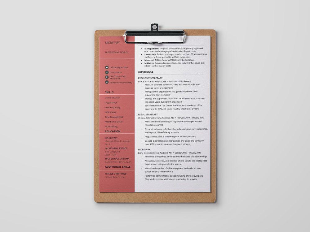 Free secretary resume template resume template resume