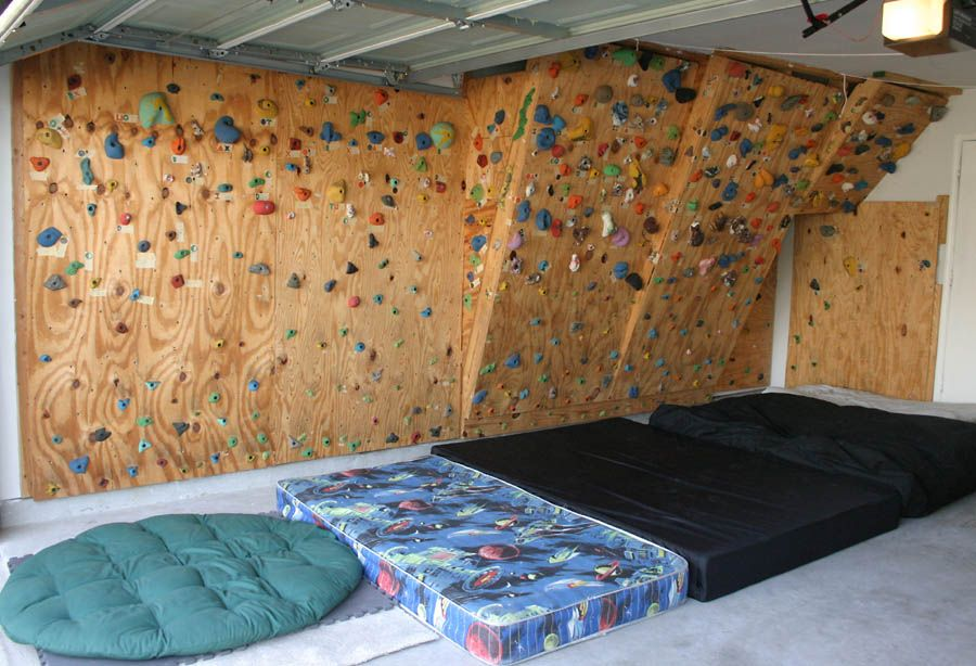 The hahns homebuilt climbing wall in our garage home in 2019