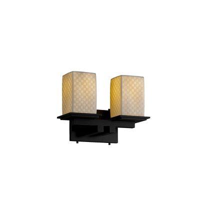 Justice Design Group Limoges Montana 2-Light Vanity Light Finish: Brushed Nickel, Impression: Checkerboard