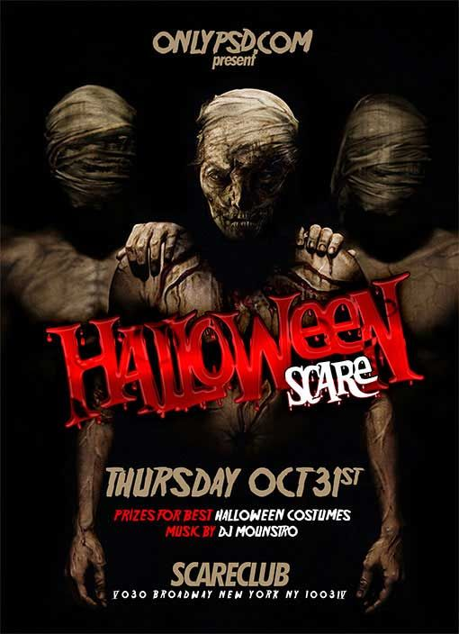 halloween costume party flyer templates