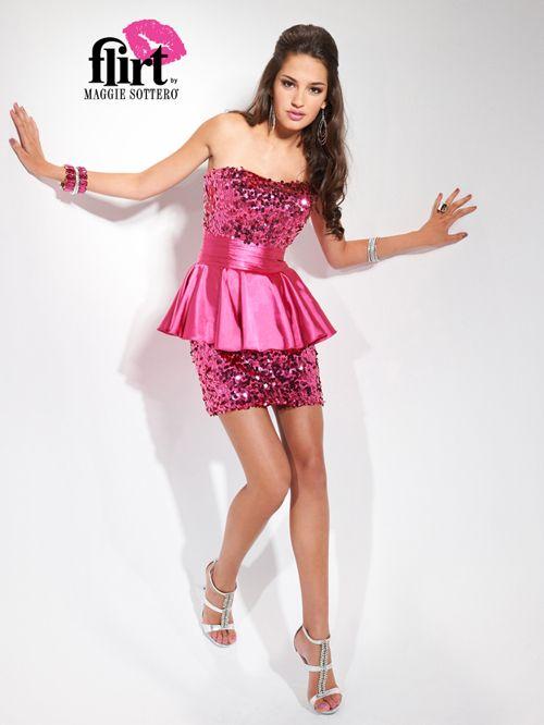 Flirty Pink Sequin & Satin Strapless Ruffle Homecoming Dress ...