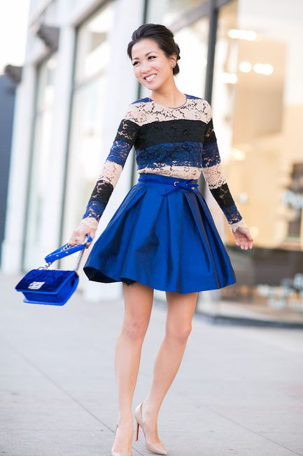 Wendy's Lookbook: Blue, black, nude lace stripe top Cobalt blue skirt Cobalt blue velvet crossbody Cobalt blue belt Nude pumps