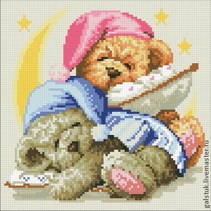 Вышивка мишки на подушке