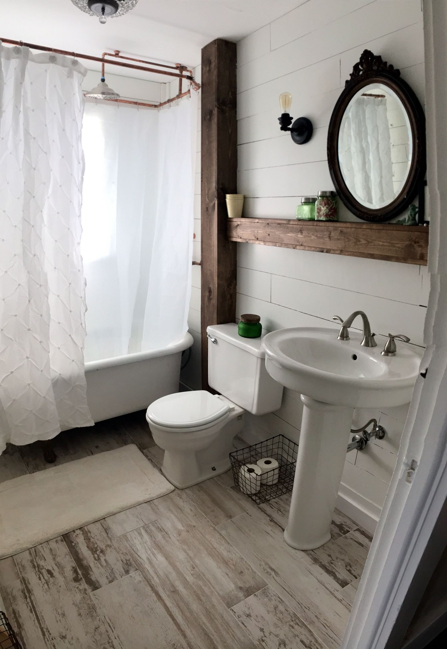 Farmhouse style bathroom shiplap bathroom farmstyle Mirror design for small bathroom