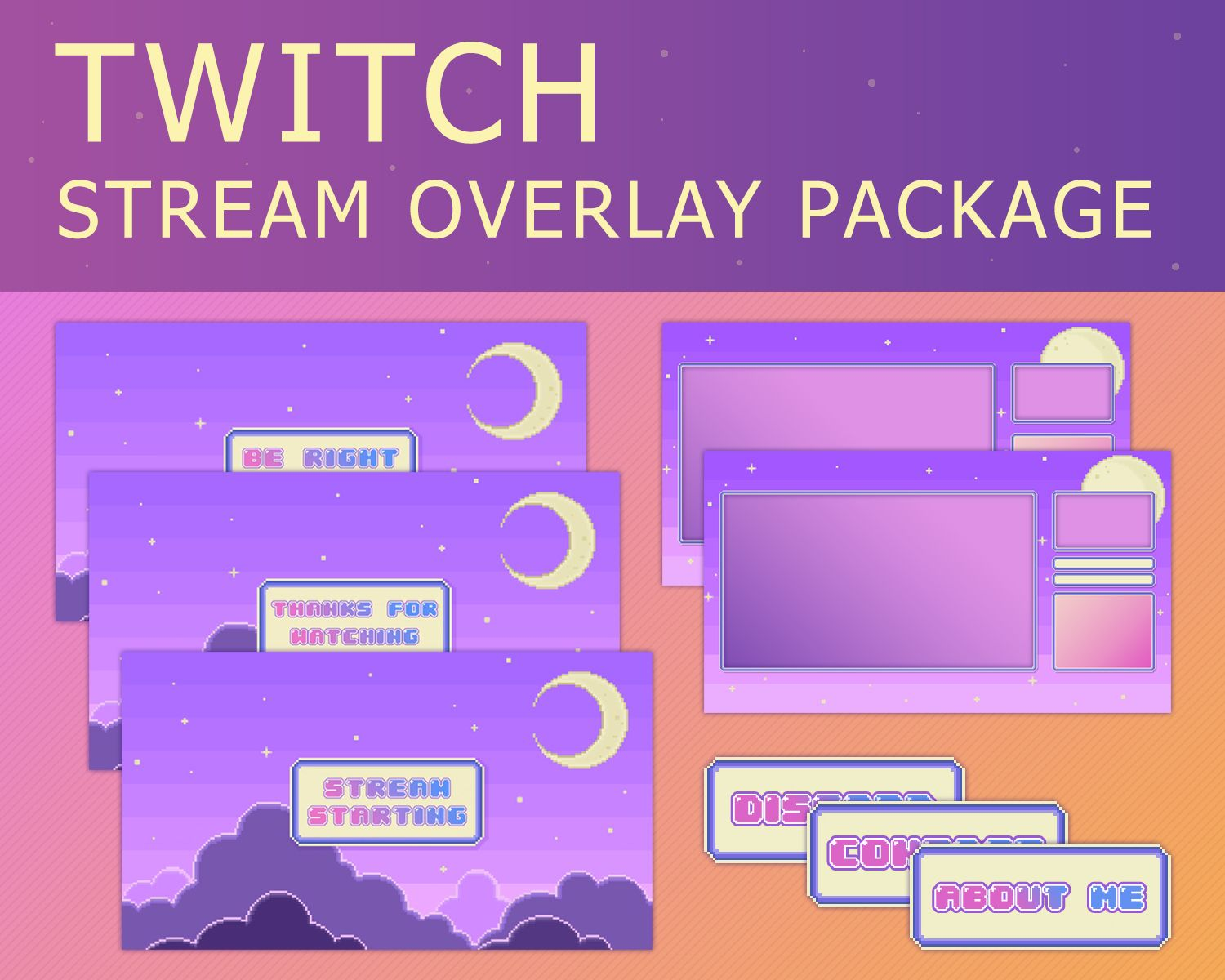 Animated Twitch Overlay Package Twitch Streaming Setup Overlays Animated Banners