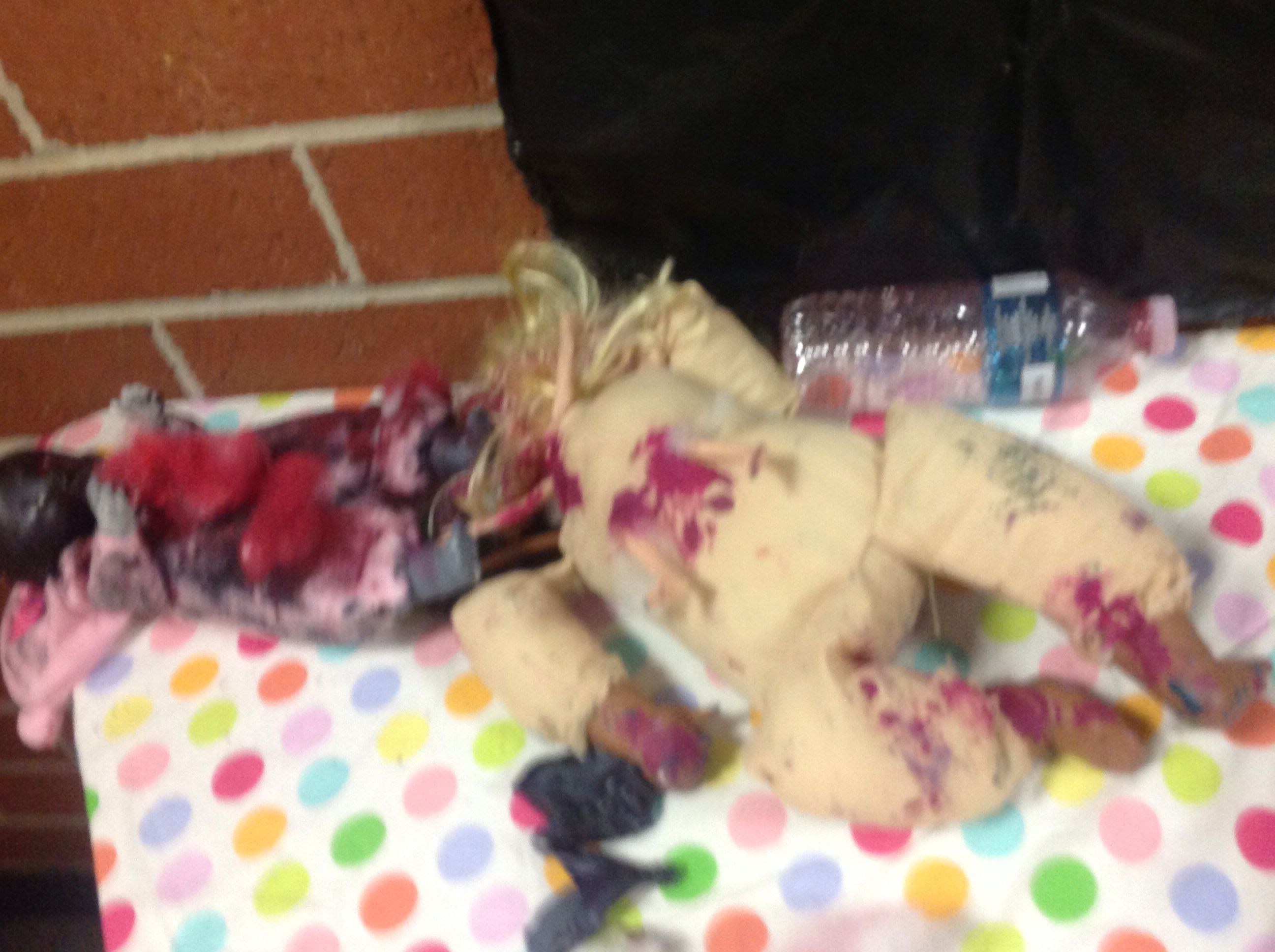 Defaced Dolls in Anne's Room