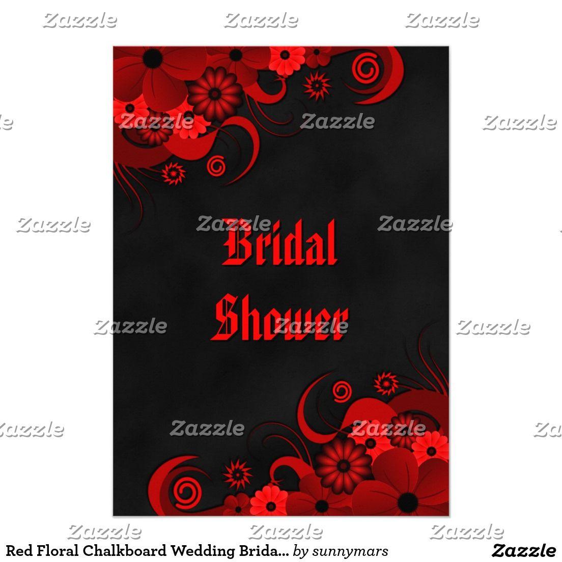 Red Floral Chalkboard Wedding Bridal Shower Invite   wedding ...