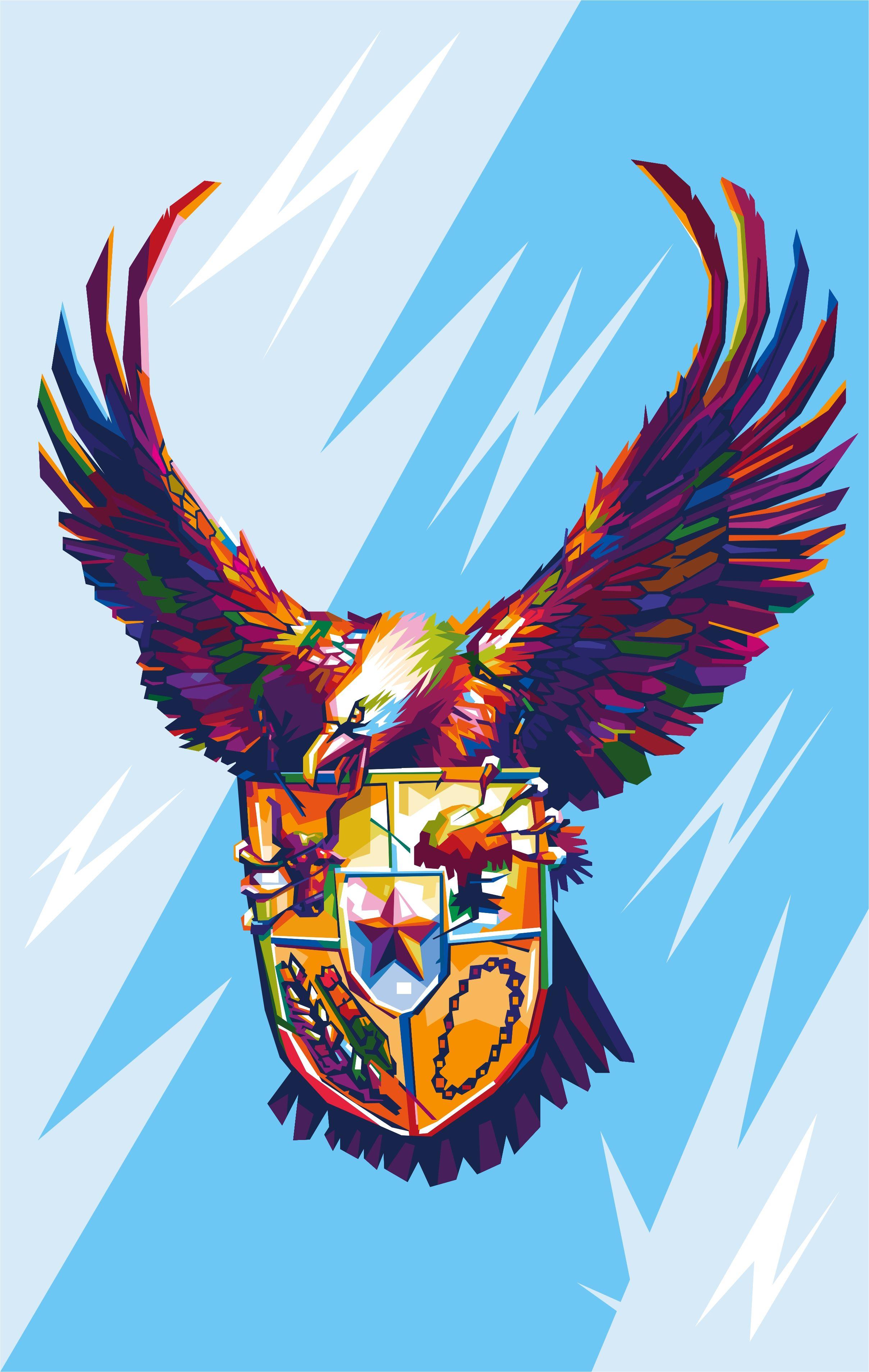 garuda pancasila in wpap pop art s style di 2020 karya seni 3d tato burung hantu seni 3d garuda pancasila in wpap pop art s