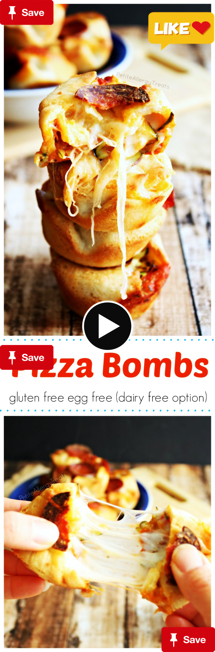 Pizza Bomb Bites (glPizza Bomb Bites (gluten free egg free, dairy free option)- Pizza pockets filled with gooey cheese and vegetables