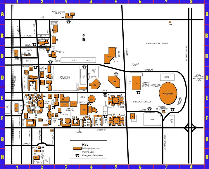 Bgsu Campus Map Campus Map College Years Bowling Green State University