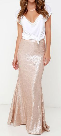 Kickin' Up Stardust Blush Sequin Maxi Skirt | Rose gold, Sequin ...