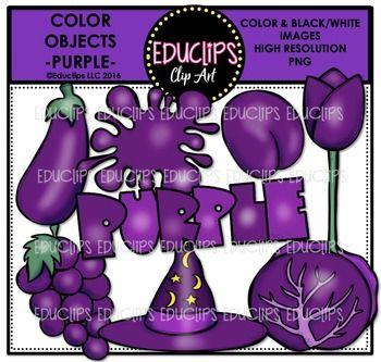 Color Objects – PURPLE – Clip Art Bundle {Educlips Clipart}