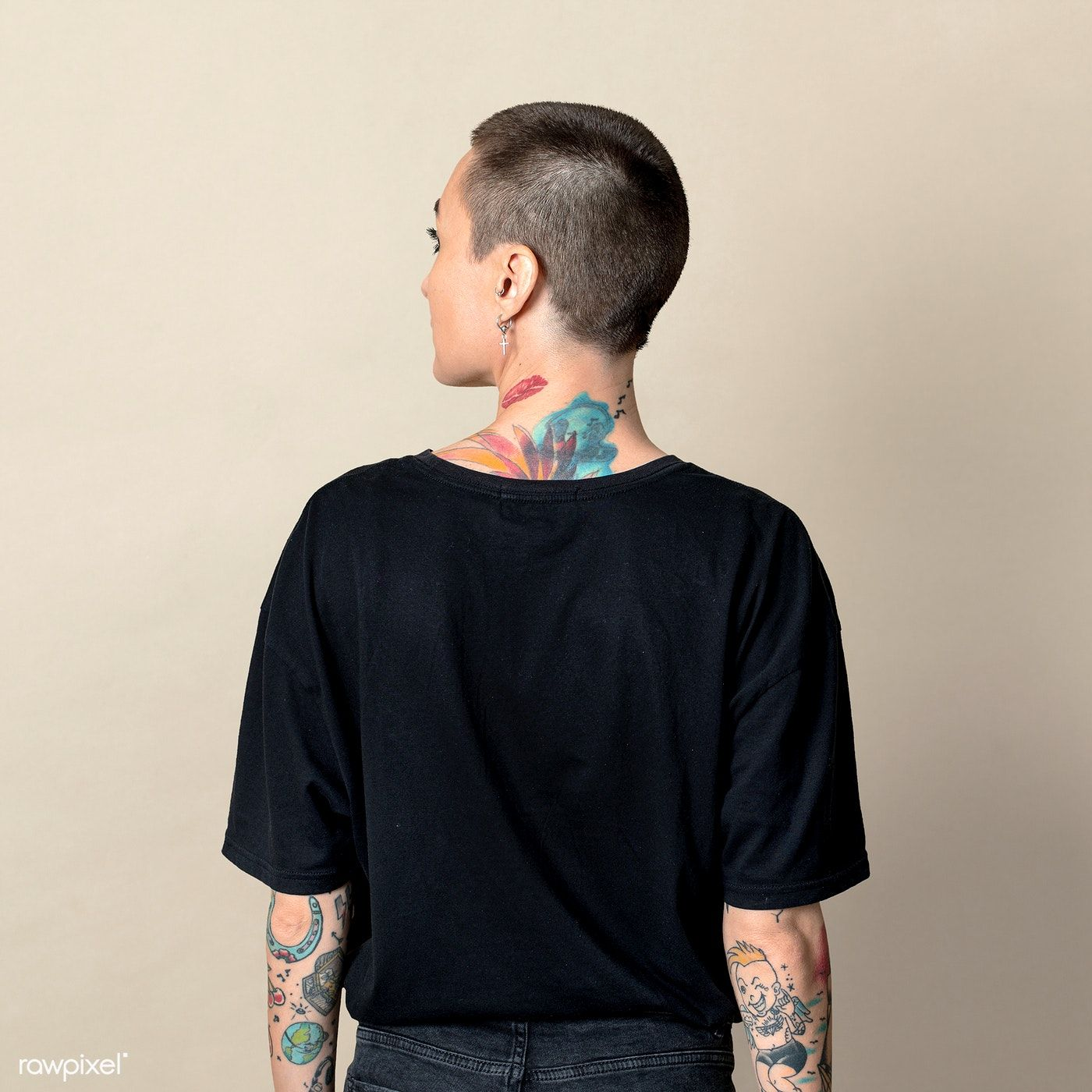 Download Download Premium Psd Of Model With Tattoo In Black T Shirt Mockup 2052668 Shirt Mockup Black Tshirt Tshirt Mockup