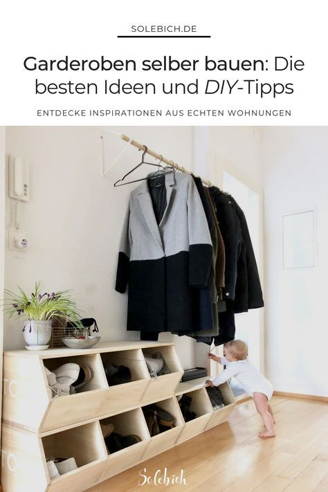 Garderoben selber bauen: Die besten Ideen und DIY-Tipps! Foto: SCHIMIwohnt #solebich #garderobe #flur #schuhschrank #diy #Eingangsbereich #Eingang