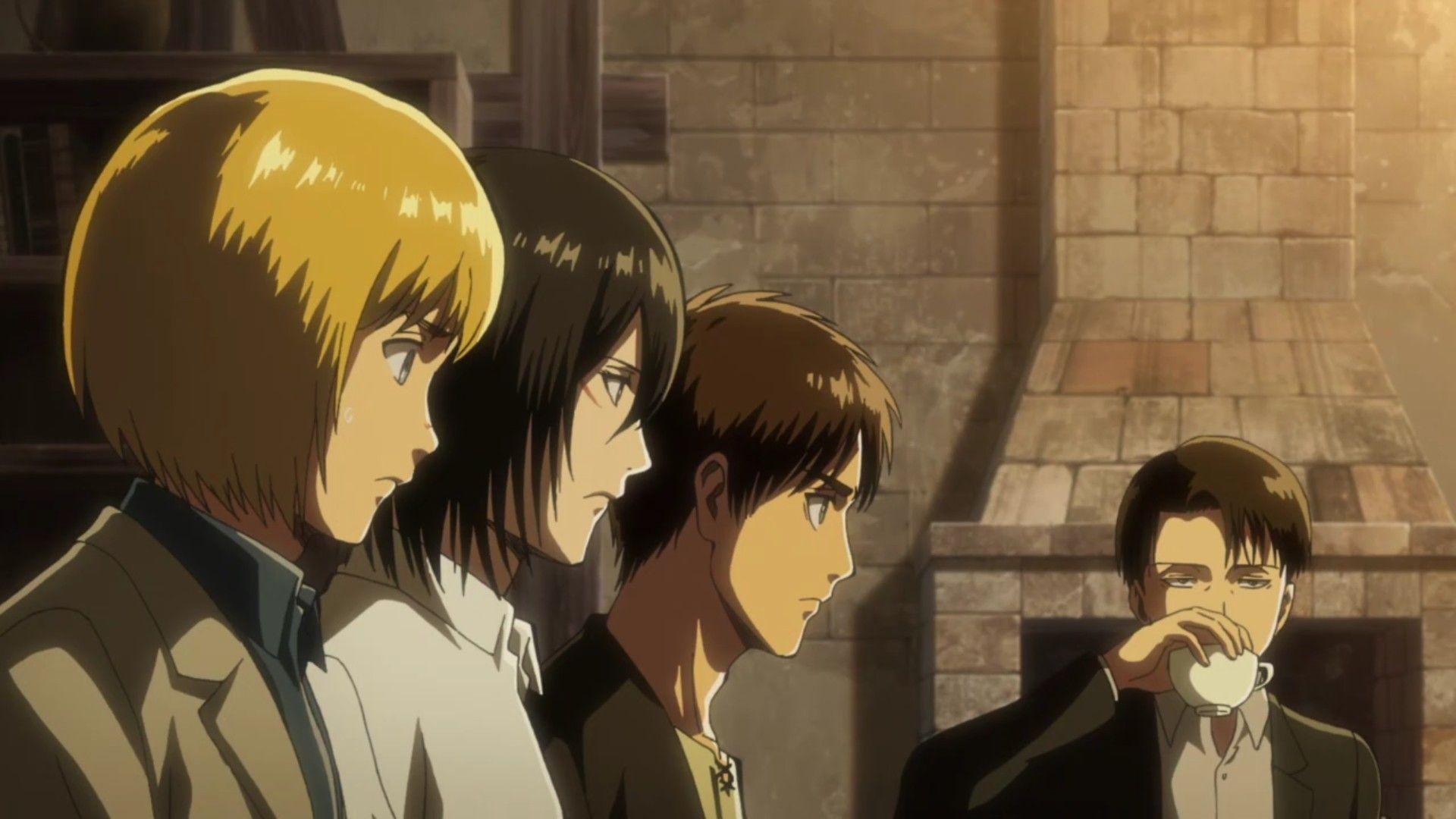Armin , Mikasa , Eren ,& Livaï | Armin, Livai, Titans
