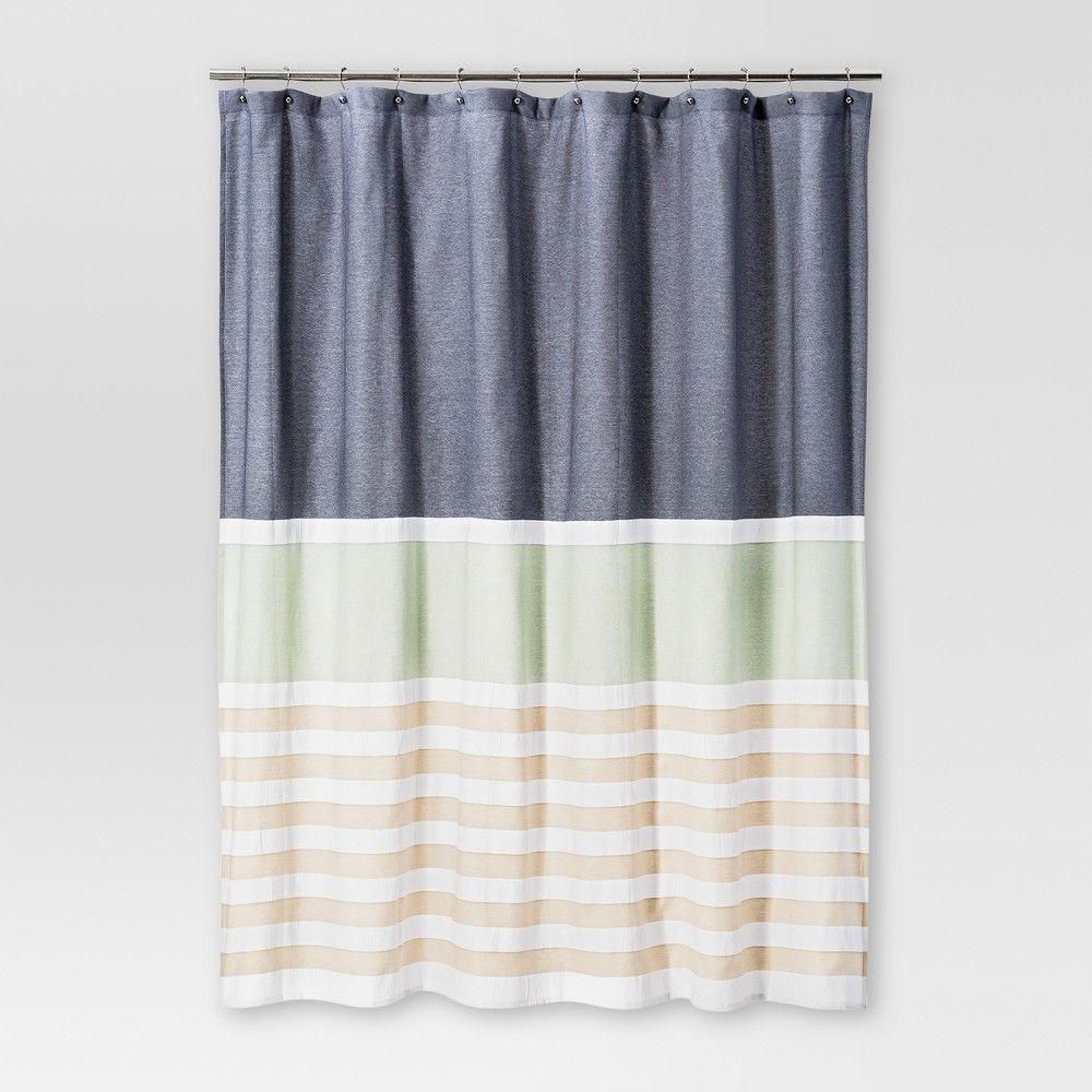 Textured Stripes Shower Curtain Indigo Threshold Striped