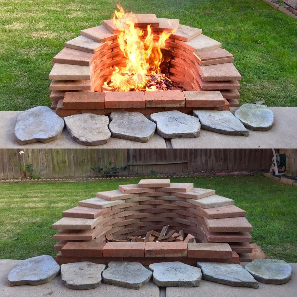 Backyard fire pit built with spare square bricks fire