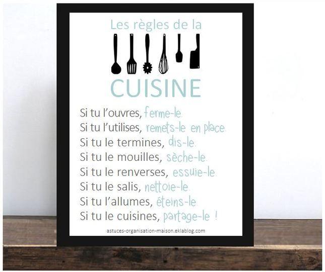 Les bons r flexes adopter pour une cuisine impeccable for Affiche decoration cuisine