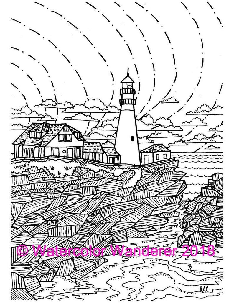 Portland Head Light Lighthouse Coloring Page Pdf Digital Etsy Coloring Pages Michigan Colors Lighthouse