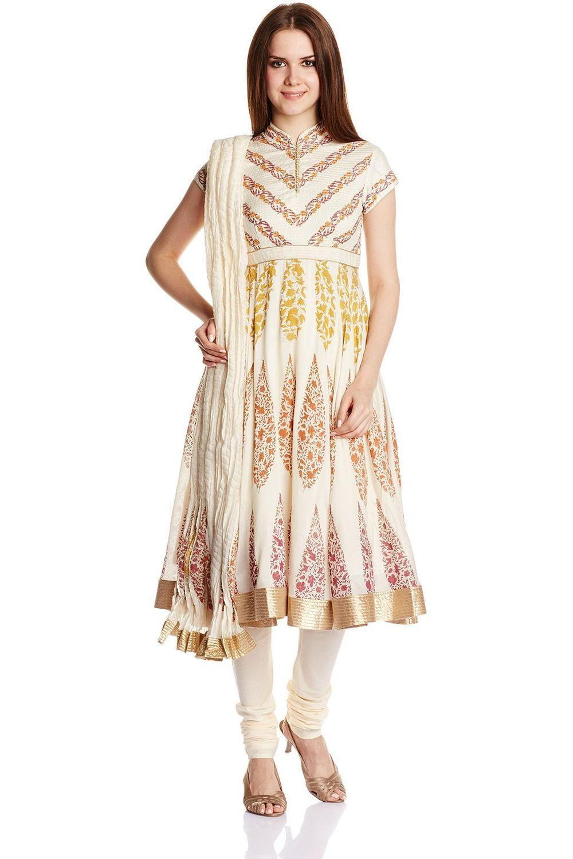 45c7b98c8 Off White Flared Silk Cotton Suit Set By Rohit Bal. Biba By Rohit Bal  Women's Cotton Silk Anarkali Salwar ...