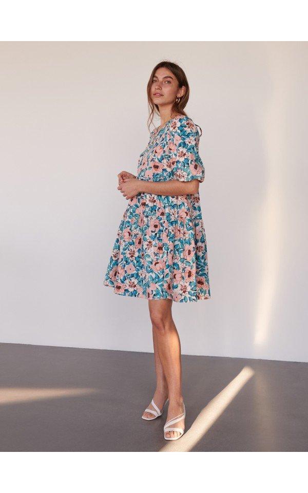 Dress With Printed Flowers Women Massimo Dutti