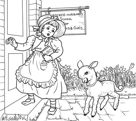 Free Printable Coloring Page...Mother Goose, Nursery Rhymes, Mary ... | 427x480