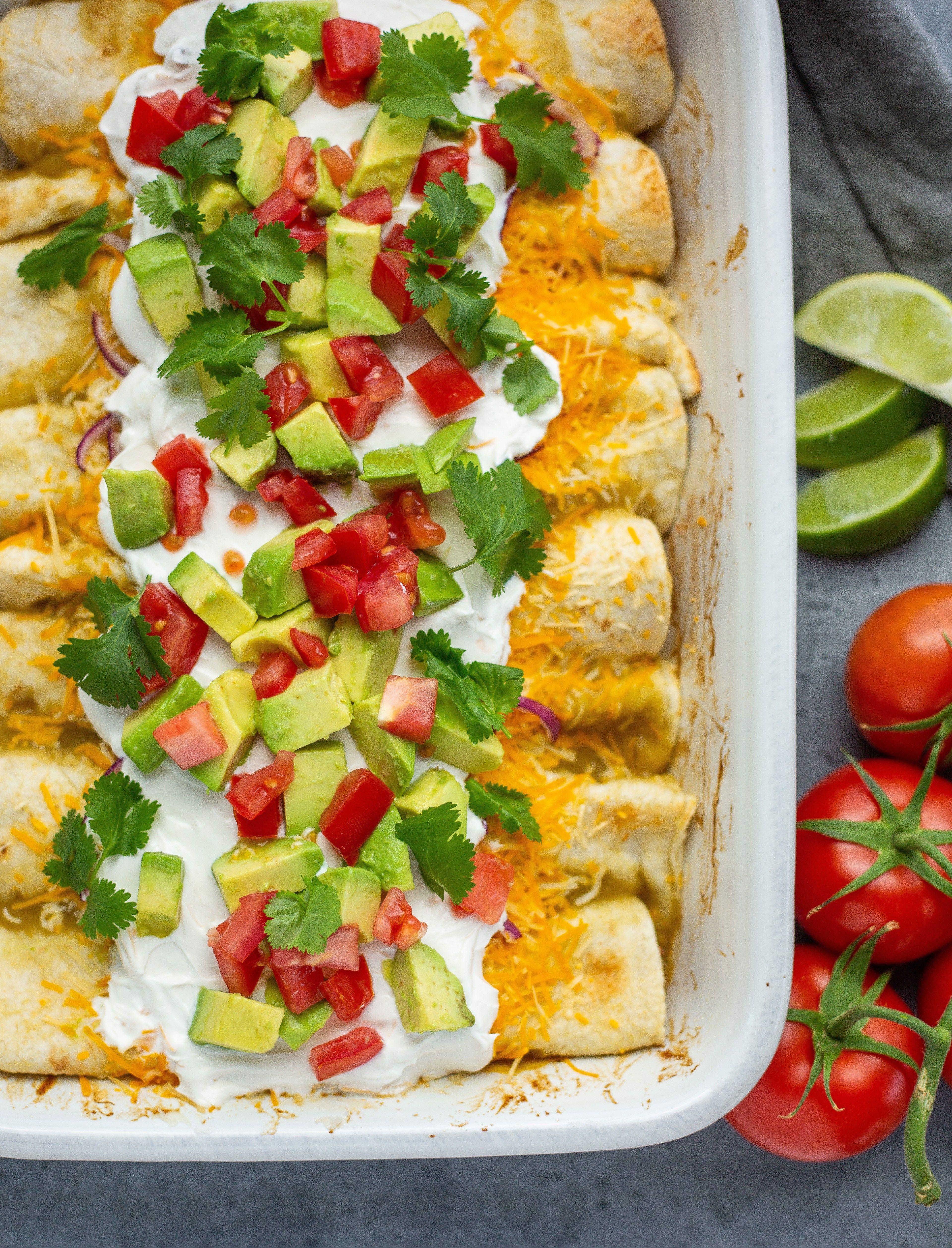 "Loaded Jackfruit ""Chicken"" Enchiladas"