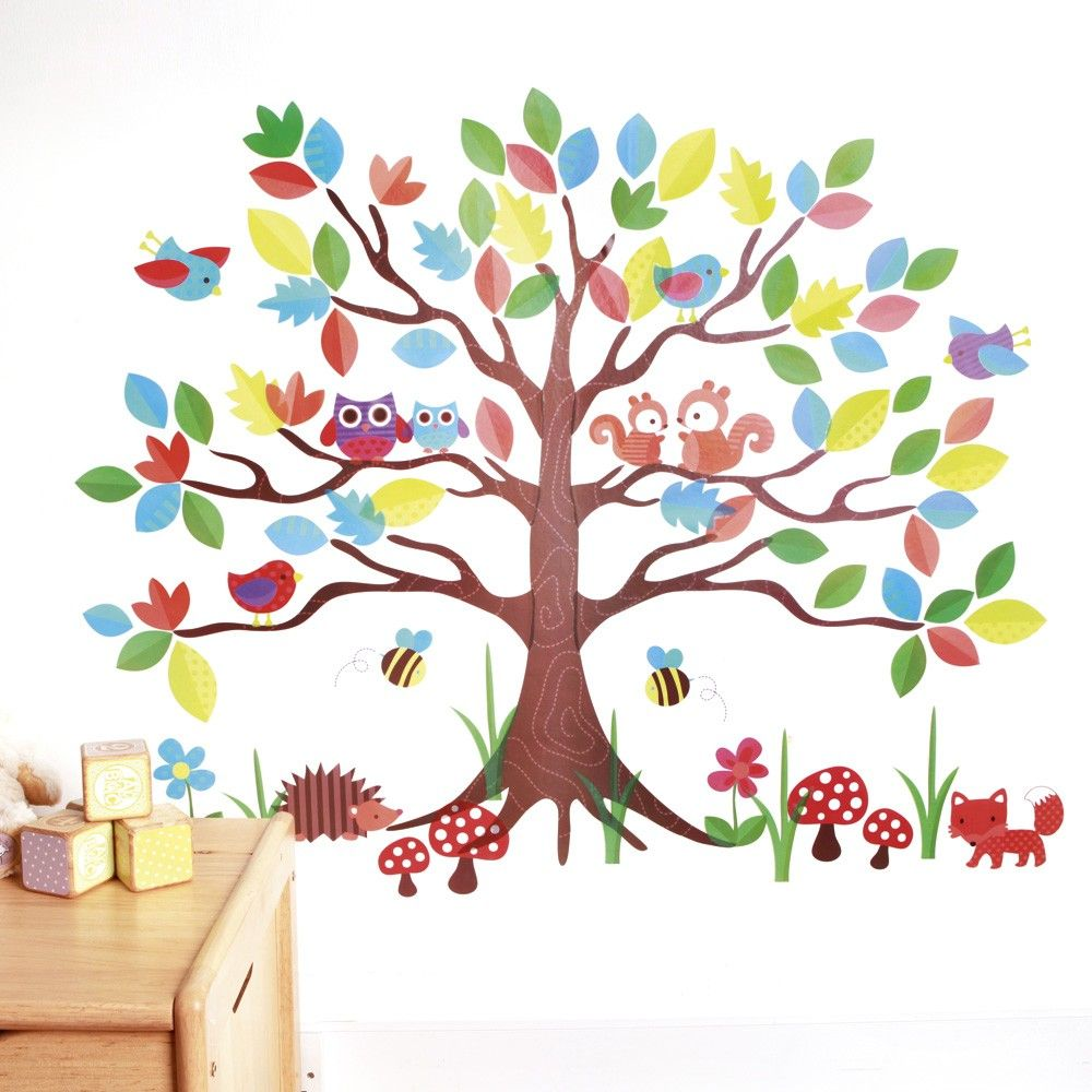 Vinilo infantil rbol del bosque deco rboles for Pegatinas pared arbol infantil