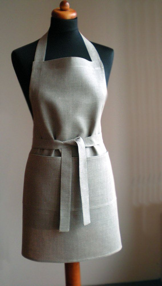 c37254b3a96d3 Natural linen full apron Unisex tan grey kitchen apron with one big ...