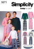 Simplicity Sewing Pattern 5271 Miss/Men/Child Sleepwear, A (XS-L/XS-XL) - http://sewingpins.net/sewing/sewing-patterns/simplicity-sewing-pattern-5271-missmenchild-sleepwear-a-xs-lxs-xl/