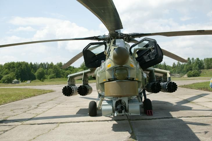 """Russian Mil Mi-28N """"Havoc"""" attack helicopter, also known as """"Night Hunter"""", for day/night combat capabilities."""