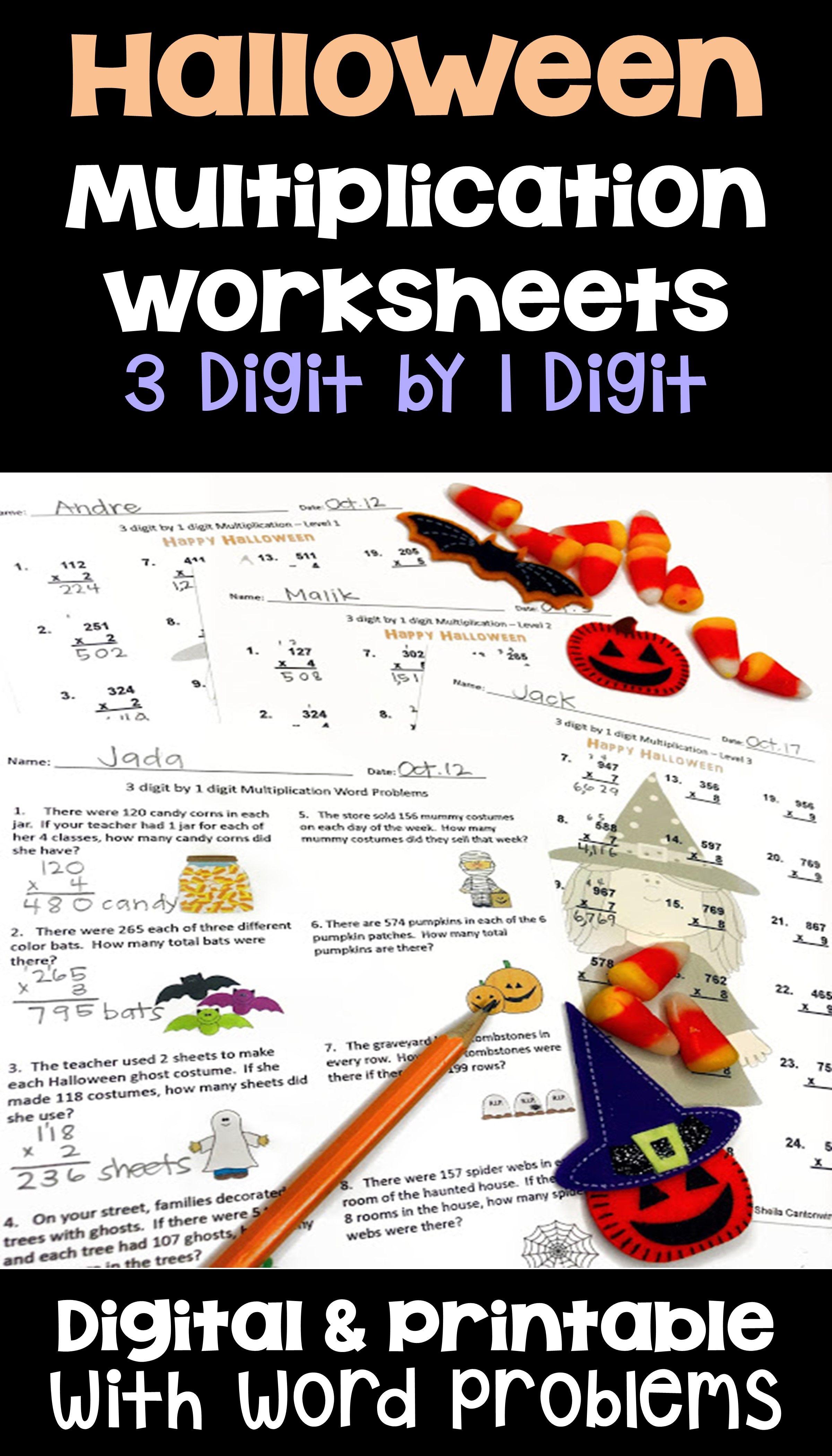 Halloween Math 3 Digit By 1 Digit Multiplication