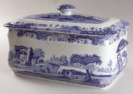 Spode Bread Bin Blue And White China Blue Transferware Blue And White