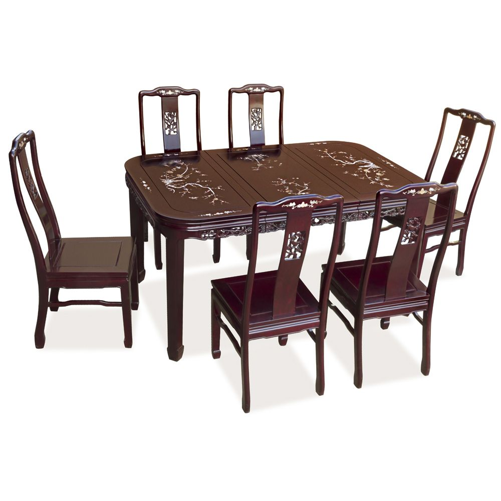Oriental Dining Table: 58in Rosewood Bird And Flower Design Oval Table With 6