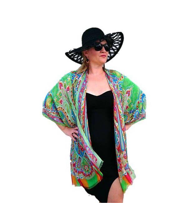 65c42ec4614 Silk Kimono Robe   Paisley Kimono Cardigan   Green Kimono Cover Up ...